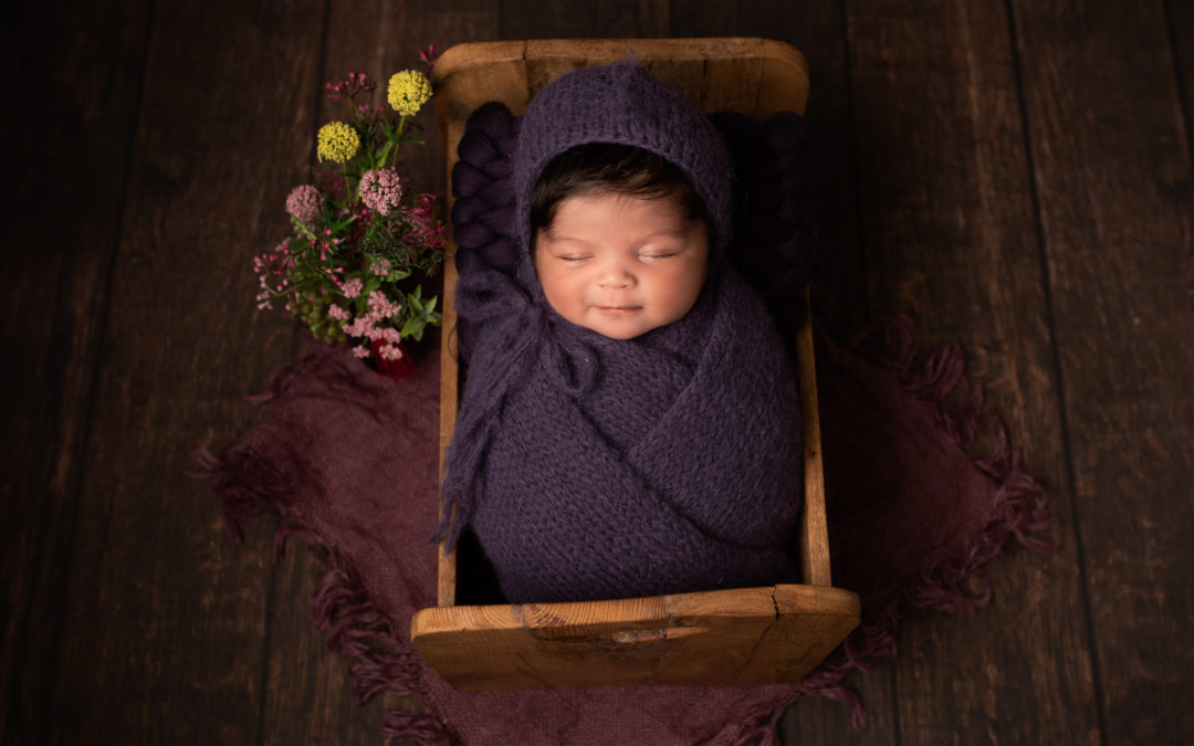 Baby girl newborn photoshoot Strood Medway purple