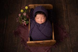 Baby girl newborn photoshoot Strood Medway  purple