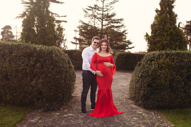 Maternity photoshoot Medway - mum and dad to be. Mum wearing maternity gown