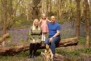 Family Photo taken in Trosley Kent among the bluebells .